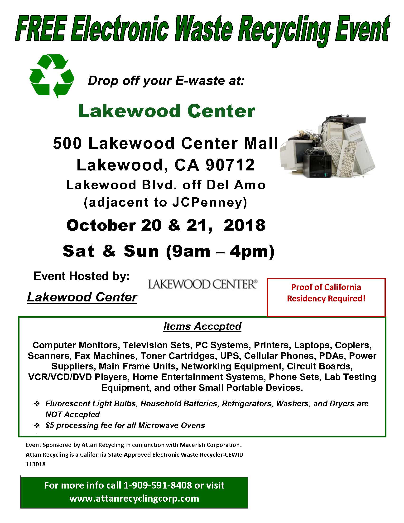 ad free electronic waste recycling event