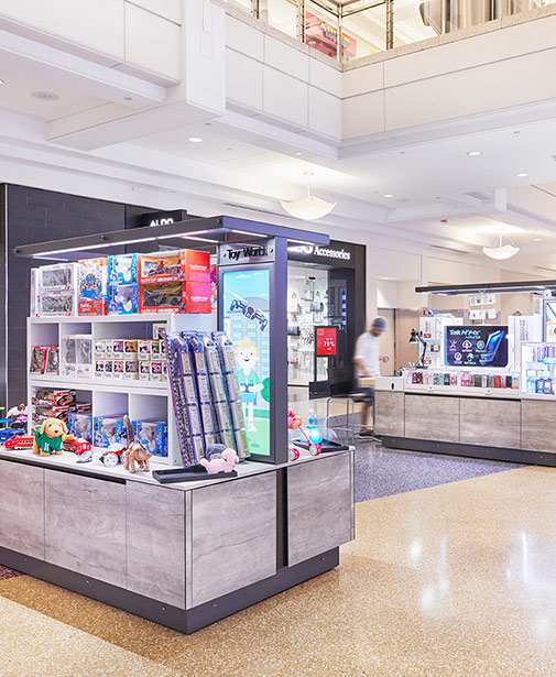 Example of kiosks operating at a mall