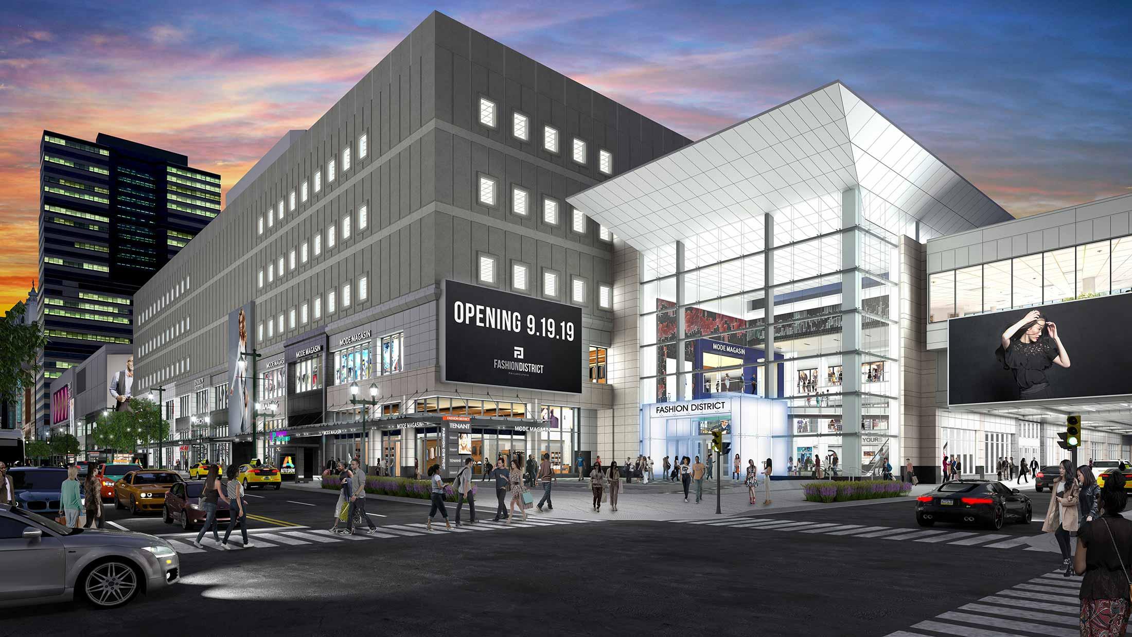rendering of Fashion District Philadelphia exterior at night