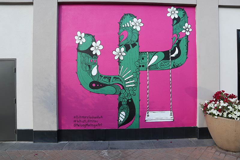 Kelsey Montague's mural of a cactus at Biltmore Fashion Park