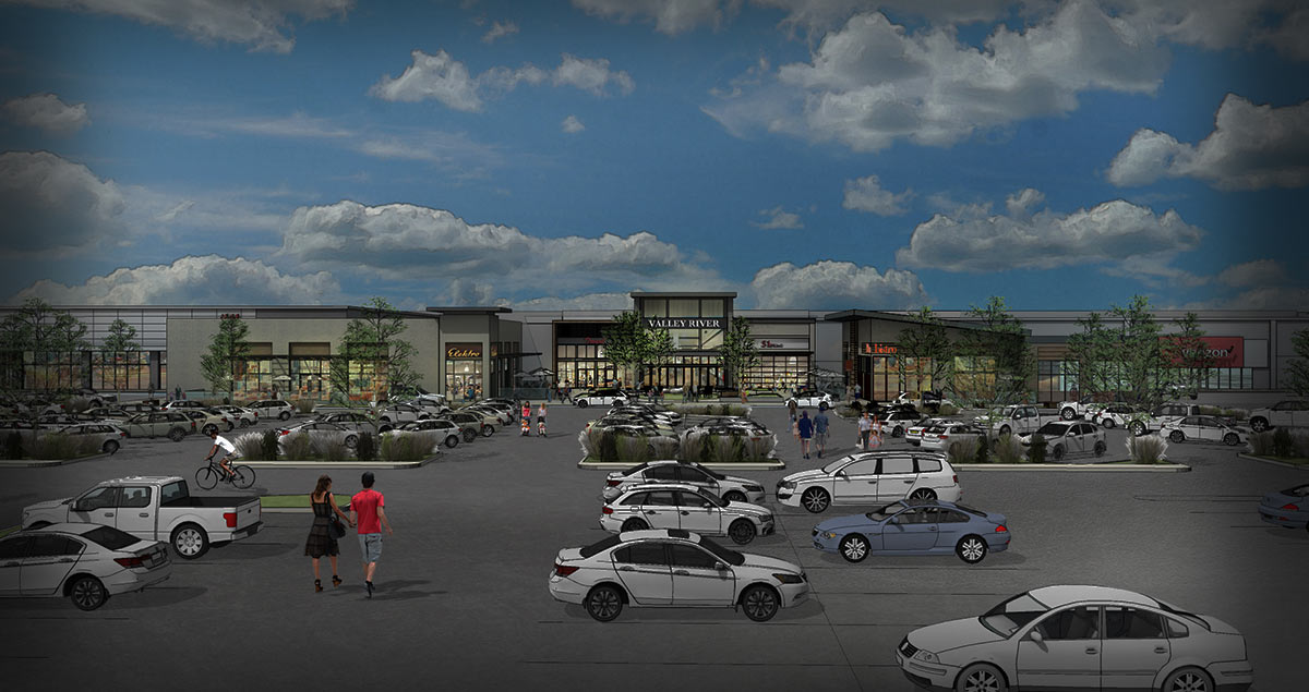Rendering of the exterior of the refreshed Valley River Center