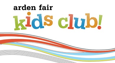 "Arden Fair Kids Club logo, multi-colored with green, red, blue and orange. Logo says, ""Arden Fair Kids Club!"""