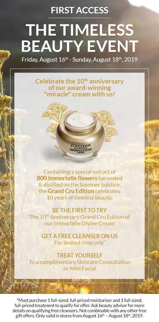 Photo of L'Occitane award winning face cream (gold and yellow). Disclaimers and promotions for event listed.