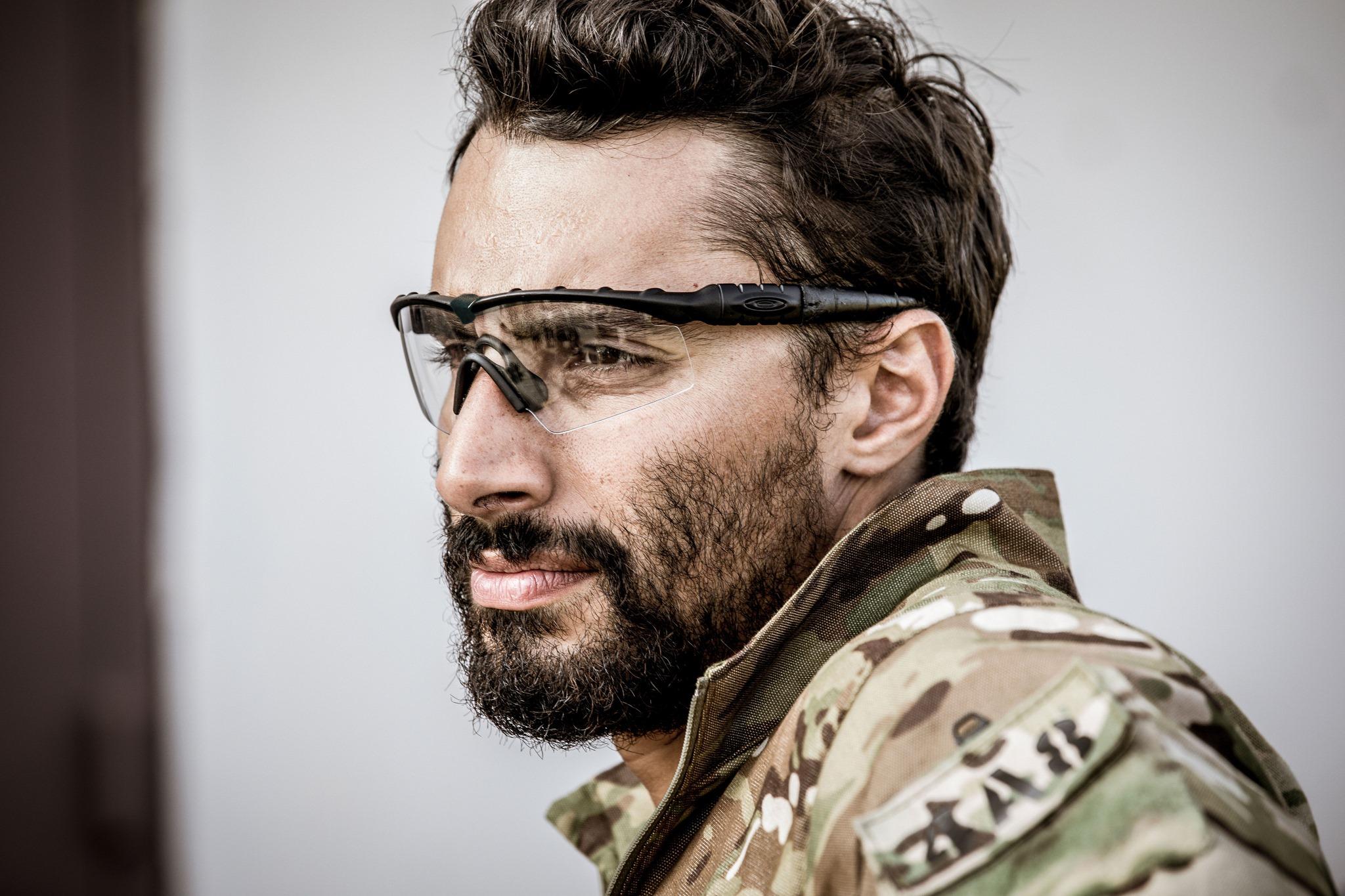 Military solider wearing Oakley eyewear.