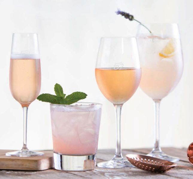 Four Rosé drinks, both wine and cocktails for Seasons 52.