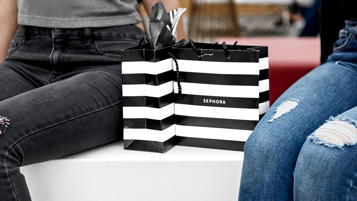two Sephora shopping bags.