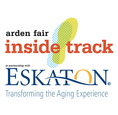 """Arden Fair Inside Track logo in partnership with Eskaton, """"Transforming the Aging Experience""""."""