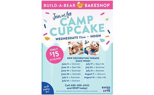 poster of camp cupcake  with pictures and dates