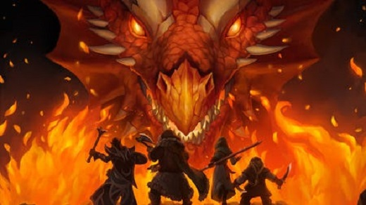 four warriors dressed in brown fighting a red dragon surrounded by red flames.