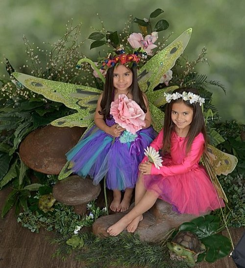 two girls dressed up like fairies, one girl  brown hair with blue and purple dress, one girl with brown hair and pink dress with fairy wings.