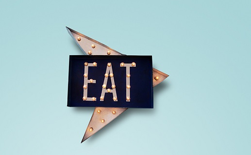 Black and gold neon sign  on blue background