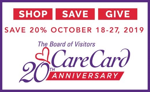 Red, white and purple letters on white background for Care Card 20th Anniversary