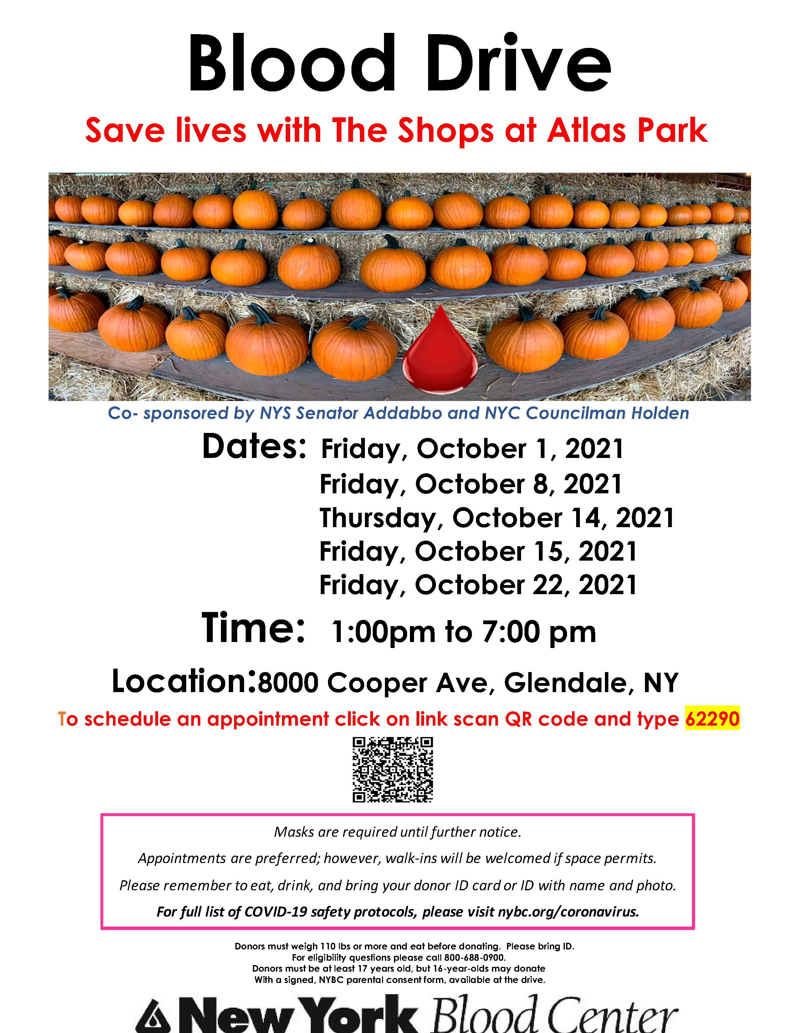 October Blood Drive with dates and pumpkins