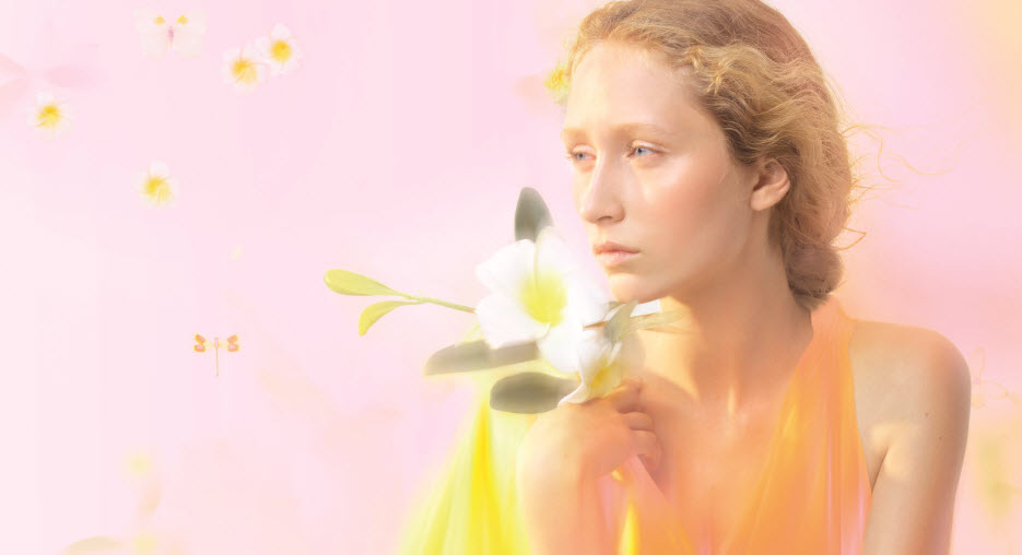 Ethereal woman with flower