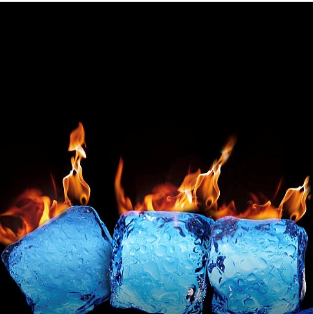 Flames coming off the top of the ice cubes