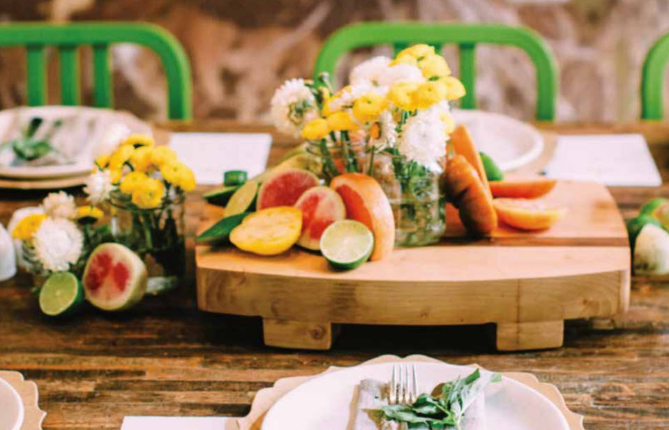 True Food table setting closeup with flowers
