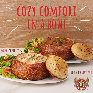 Boudin bread bowls filled with stew.
