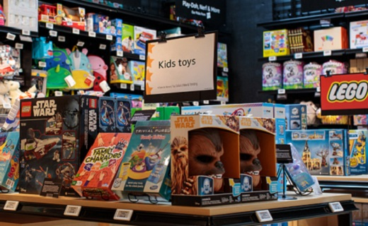 Toys on shelves and tables.