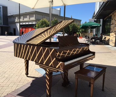 Painted Piano located in the Broadway Plaza Event Plaza.