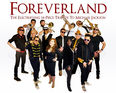 Fourteen band members with instruments representing Foreverland.