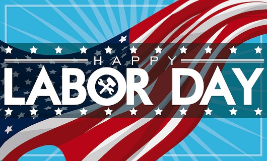 Flag with text that says Happy Labor Day