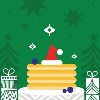 Cartoon of a table, gifts, pancakes and a Santa hat.