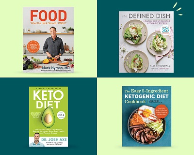Three cookbooks - one with man slicing vegetables, one with three plates, one with a man and avocado and one with a plate.