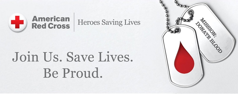 American Red Cross Heroes Saving Lives.  Join Us.  Save Lives. Be Proud.  Two dog tags: Mission: Donate Blood.