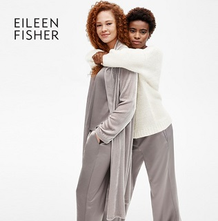 Two women wearing Eileen Fisher outfits.