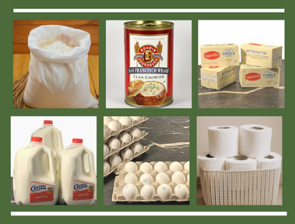 Essential merchandise including flour, can of soup, butter, milk, eggs and toilet paper.