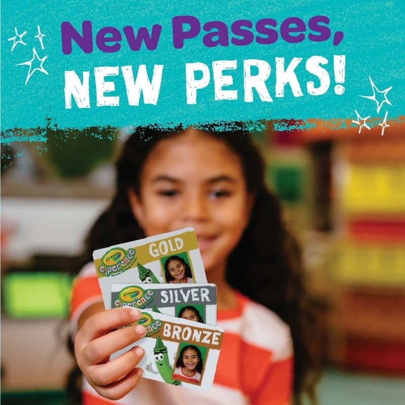 Young girl holding 3 passes with a teal header that reads New Passes in purple and NEW PERKS in white.