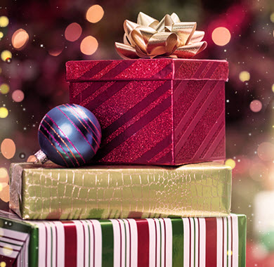Presents with bow and ornament