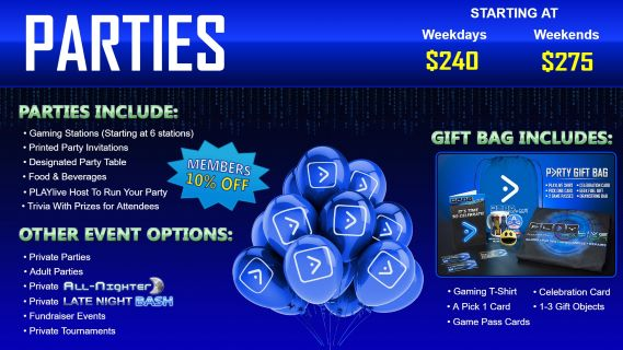 White wording explaining party package and directional buttons on a blue background.