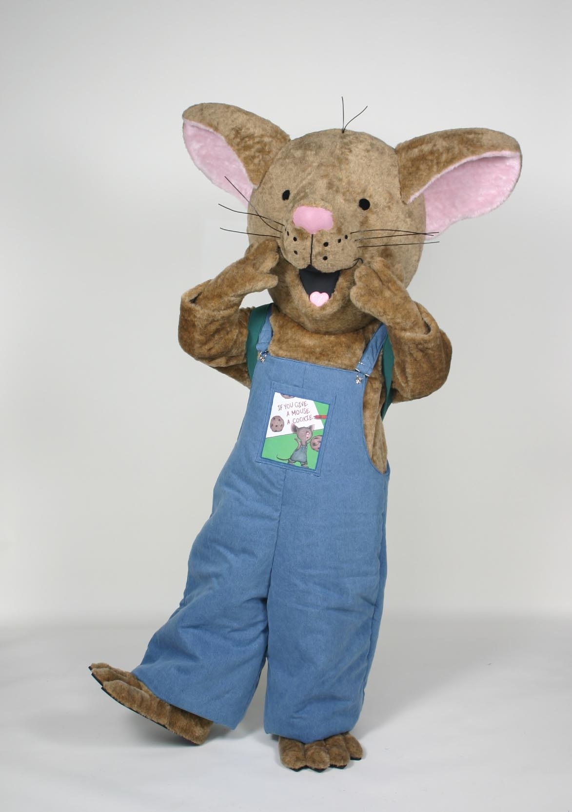 Mouse character wearing overalls
