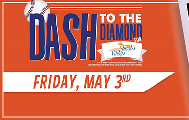 Jacob's Village Night at the Evansville Otters on Friday, May 3rd!  DASH TO THE DIAMOND!