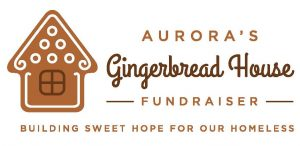 "Picture of Aurora's gingerbread house fundraiser ""Building Sweet Hope for our Homeless"" campaign."