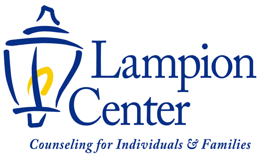 Lampion Center logo - blue lantern with yellow flame and by line Counseling for Individuals & Families