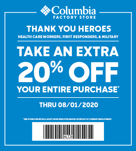 Coupon Thank you Heroes Healthcare Workers, First Responders, & Military Take an Extra 20% Off your entire purchase Thru 8/1/2020