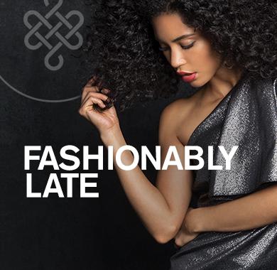 Jordan in black dress, Fashionably Late