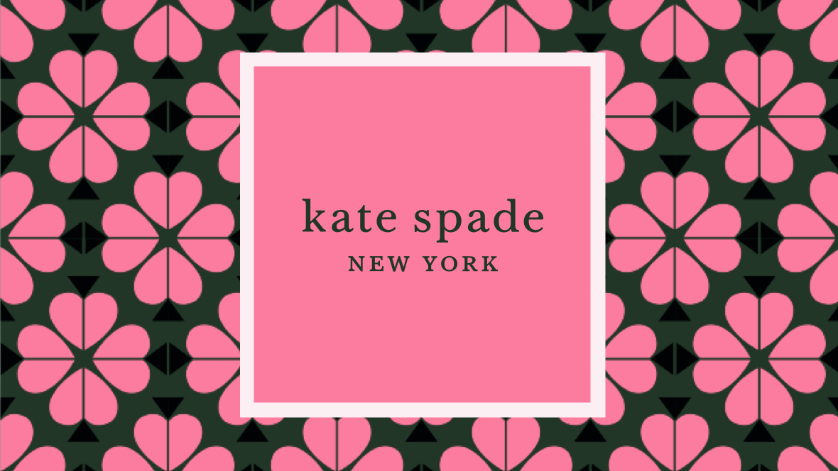 Kate Spade New York logo on a pink floral background