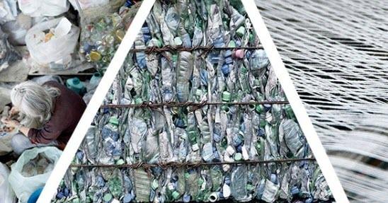 Woman collecting plastic bottles, crushed plastic bottles, plastic fibers