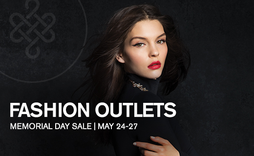 Model wearing black, Fashion Outlets Memorial Day Sale May 24-27, Fashion Outlets logo