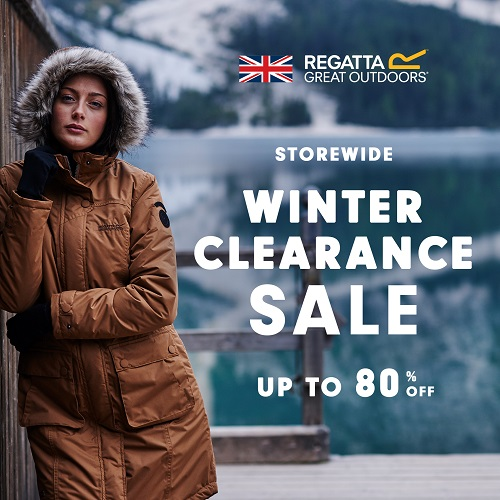Regatta Great Outdoors, Storewide Winter Clearance Sale, Up to 80% off. Photo of a woman in a winter coat