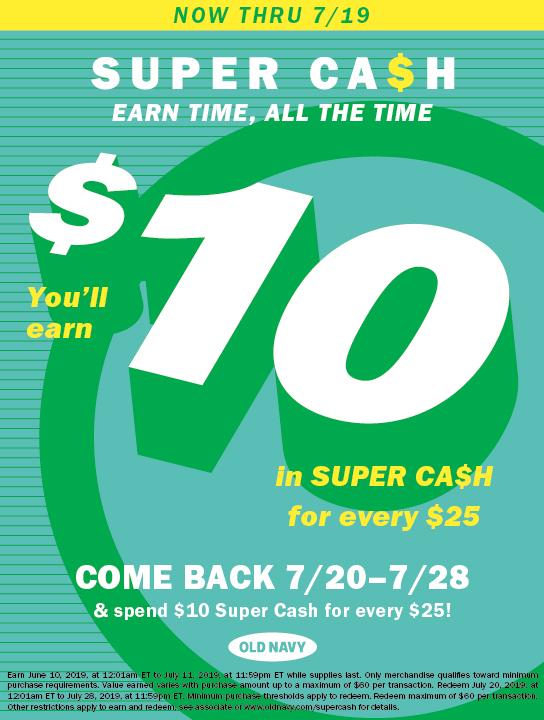 Old Navy Super Cash Event Flyer
