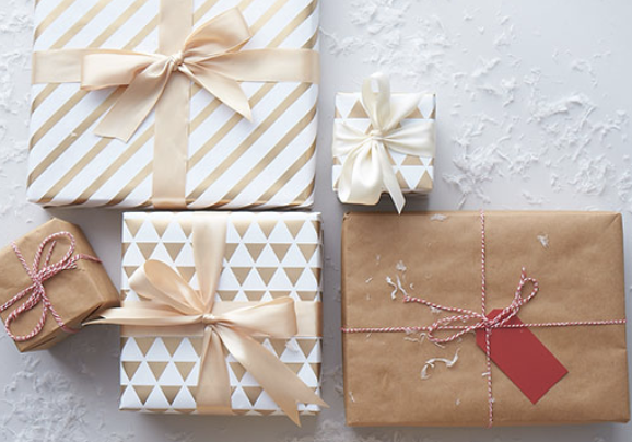 Pretty gifts wrapped up for holidays.