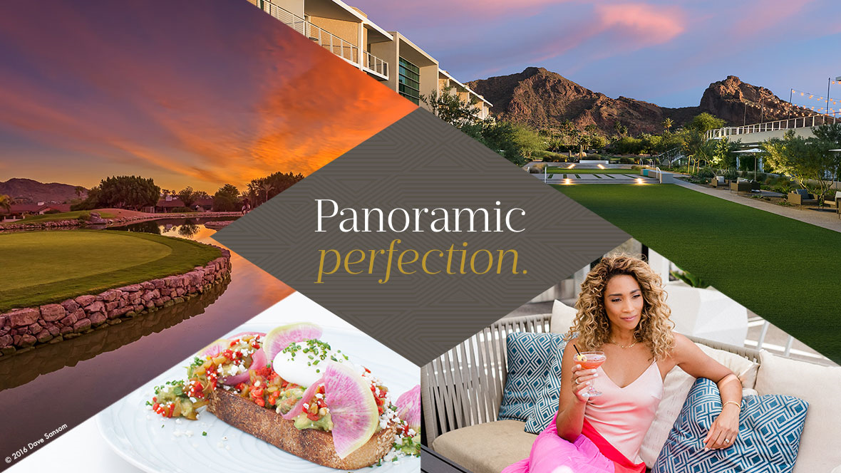 "Scenic views and woman sitting on lounge chair with cocktail. Text reads ""Panoramic perfection""."