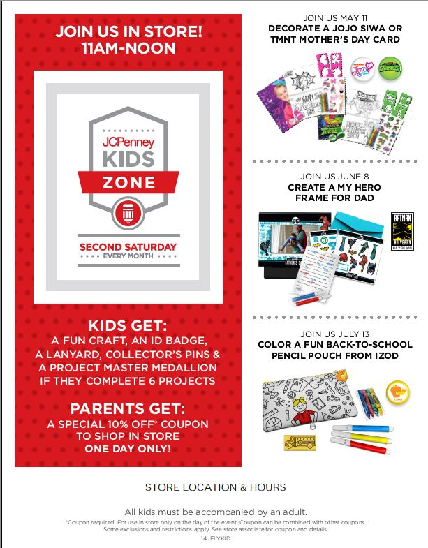 JCPenney calendar for the next three children's events at the store