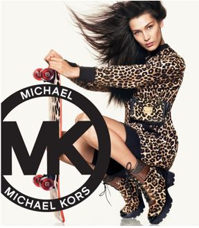 Michael Kors logo with leopard dresses lady.
