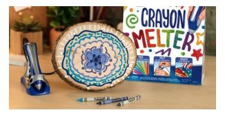 Crayon melter to make decorated wooden projects.