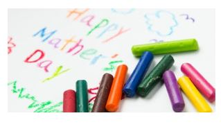 Crayons for making Mother's Day cards.